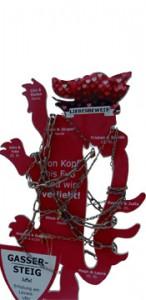 der Wolfsberger Liebeswolf zum Aufhängen von Liebesschlössern